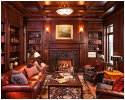 living room brown walls image