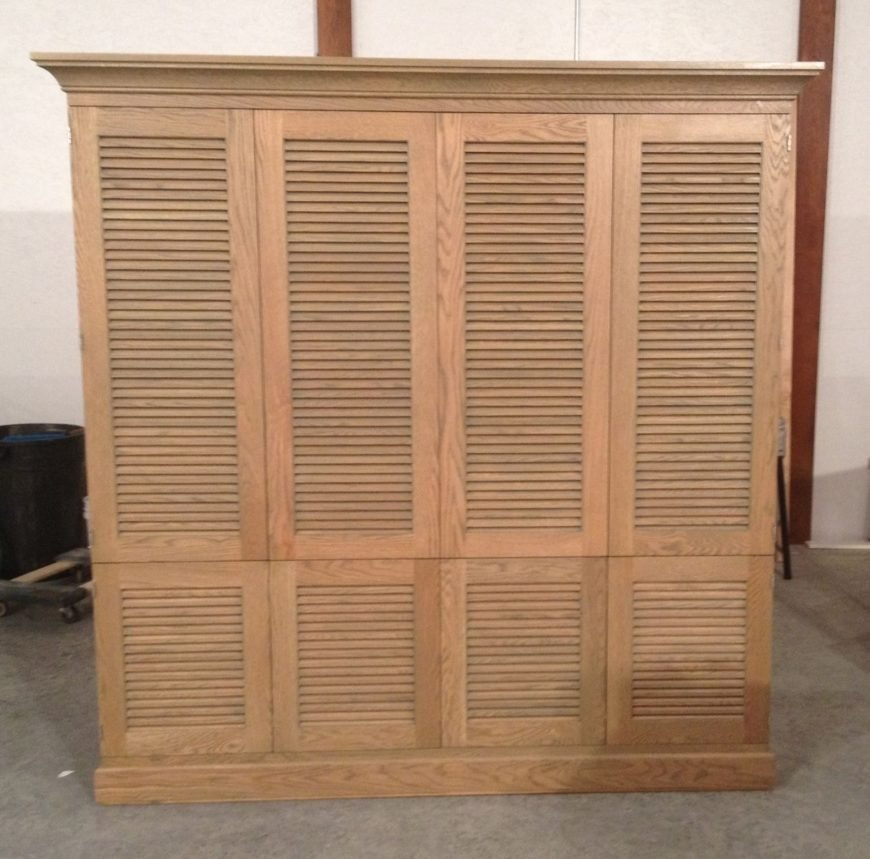 Louvered kitchen cabinet image