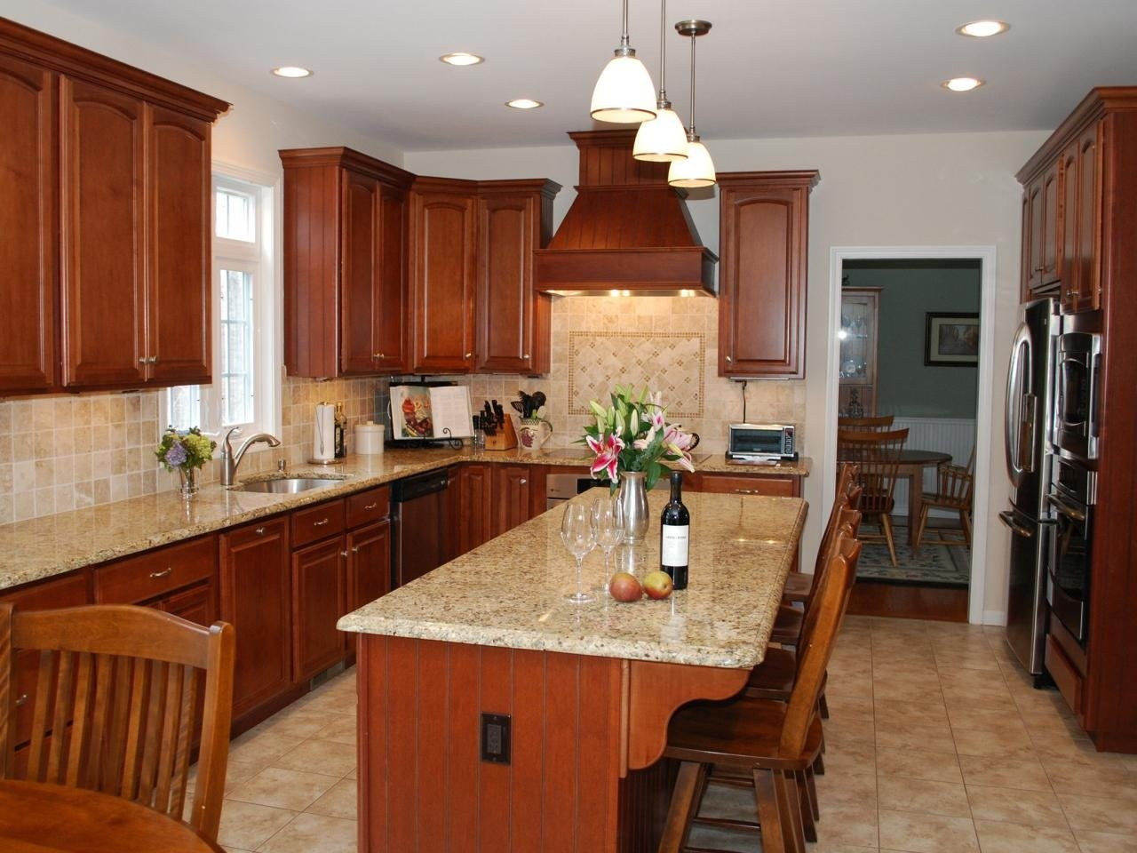 Medium wood kitchen cabinet image