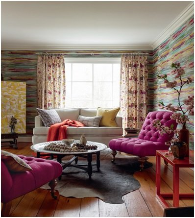 multicolored living room walls image