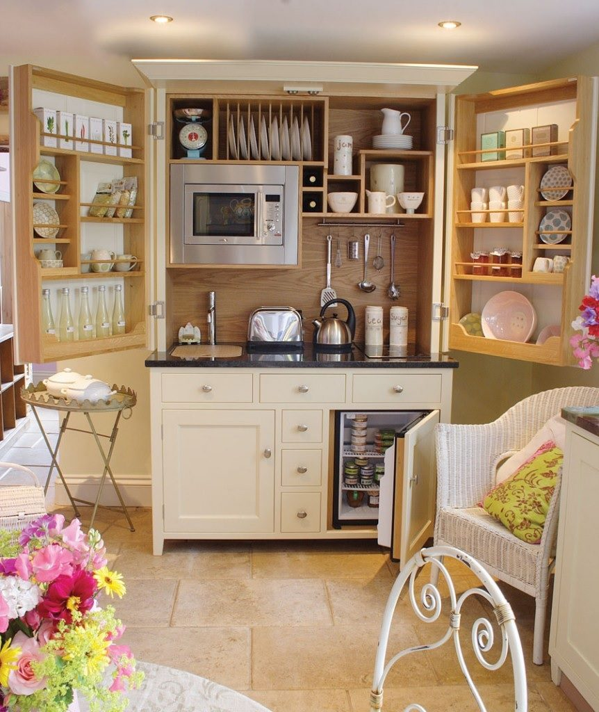 Open kitchen cabinet image