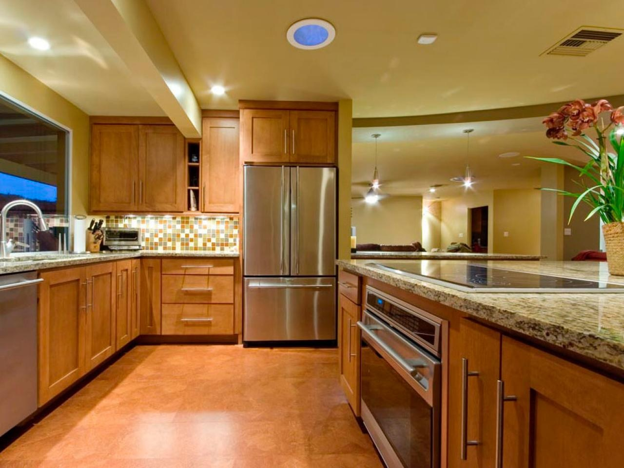 orange color kitchen floor image