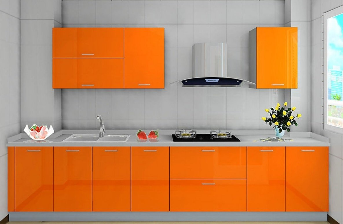 Orange kitchen cabinet image