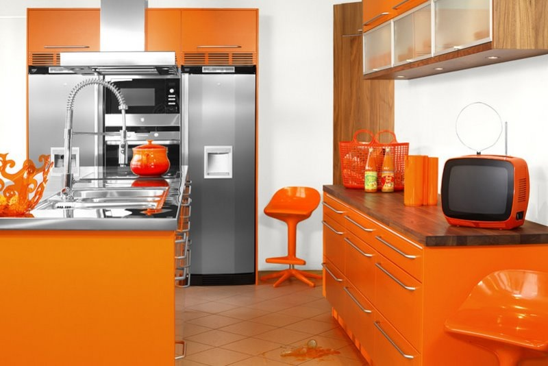 Orange kitchen color image