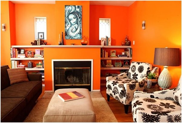 orange living room walls image