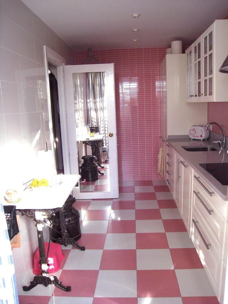 pink color kitchen floor image