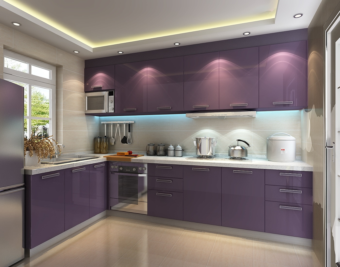 Purple kitchen cabinet image