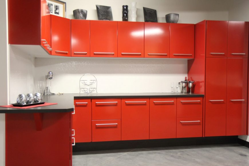 Red kitchen cabinet image
