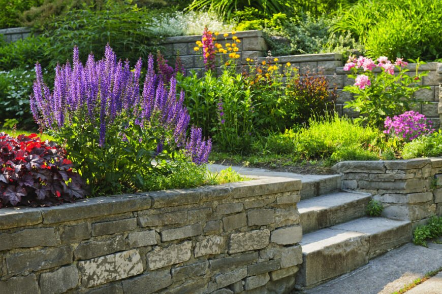 Terraced garden with retaining walls.