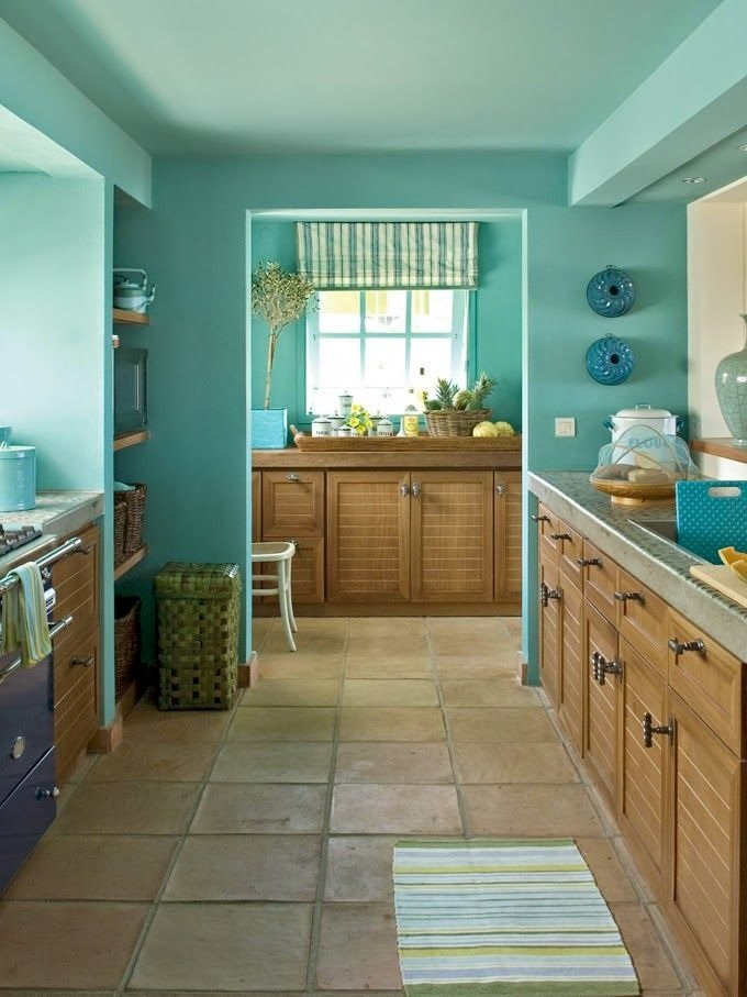 Turquoise kitchen color image