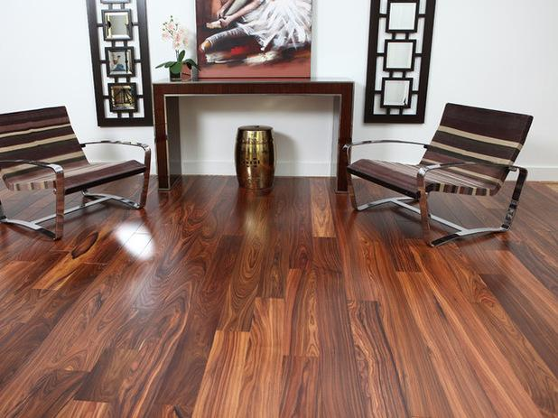Teak wood flooring.