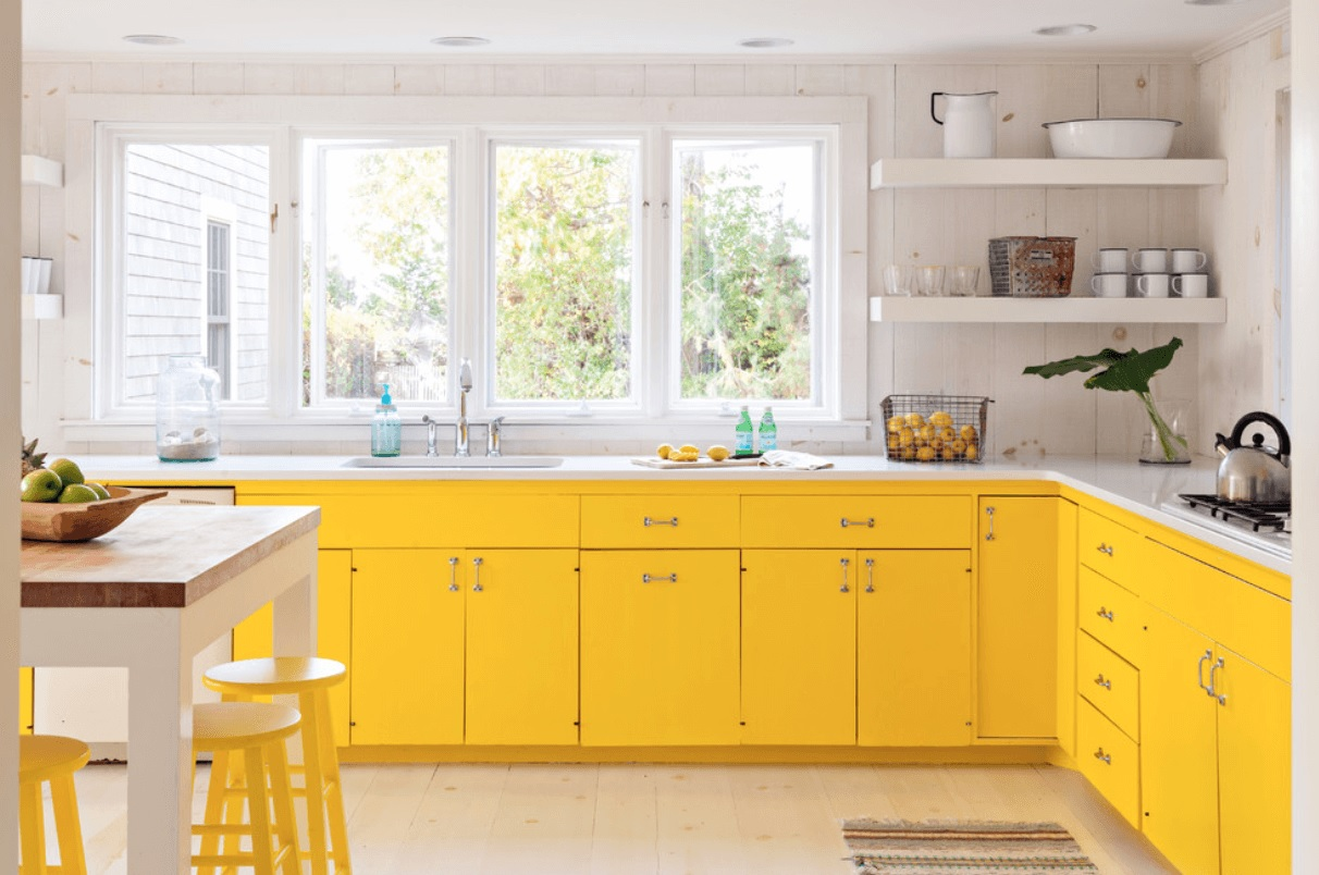 Yellow kitchen cabinet image