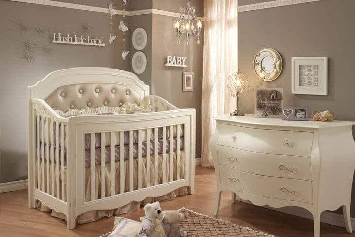 Nursery Room With Gray Walls And A Baby Chandelier