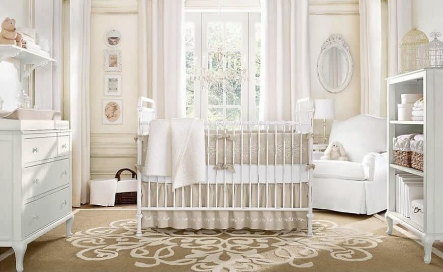Nursery room featuring classy walls and curtains along with the rug.