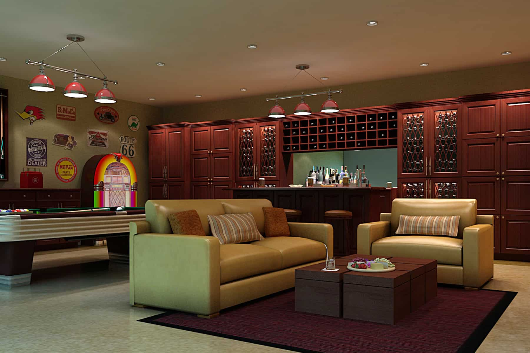 Large bar with a living space and a billiards pool. The bar set up looks so elegant. It matches the pendant lights.