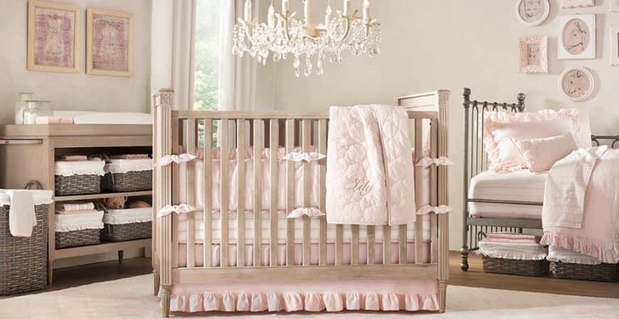 This nursery room is a perfect fit for your princess. The light pink colors are absolutely eye catching while the chandelier above the baby's crib looks so enchanting.