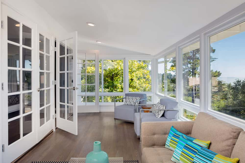 Beautiful sunroom with white walls.