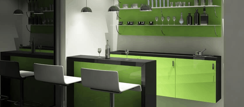 Home Bar With Green Vanity