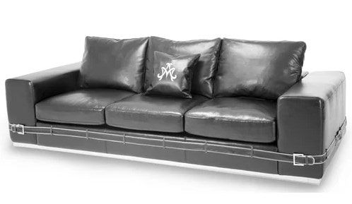Three-seater leather sofa with back cushions, cushion seating, and a throw pillow.