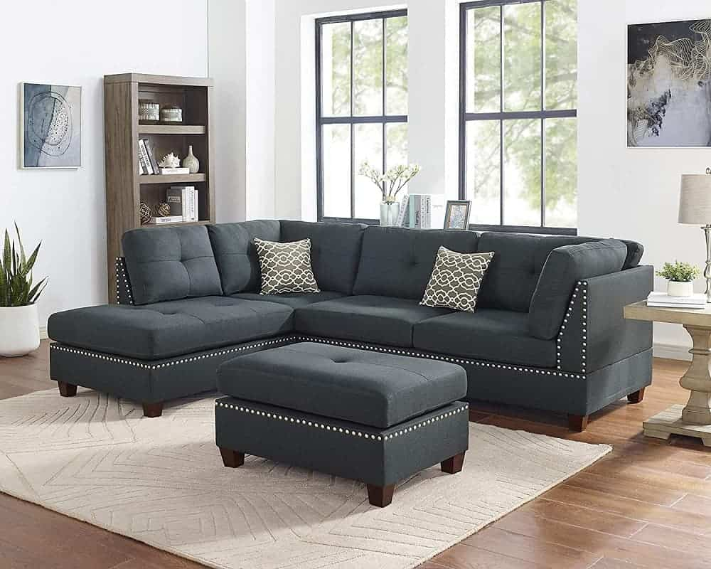 The Oadeer Home, OADEF Faux Leather Ottoman Sectional Sofa from Amazon.