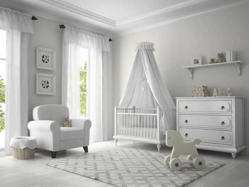 This nursery room features all white finish including the furniture, wall decors and even the flooring.