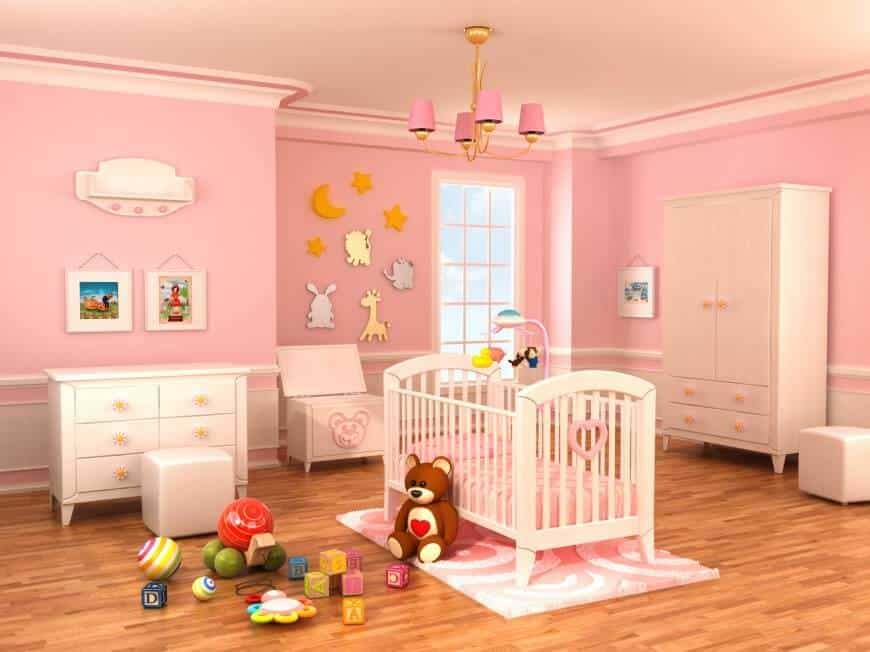 This nursery room for your baby girl is surrounded by pink paint and other stuff such as the baby's bed and the rug underneath. The wide space offers a large playing room for the baby.