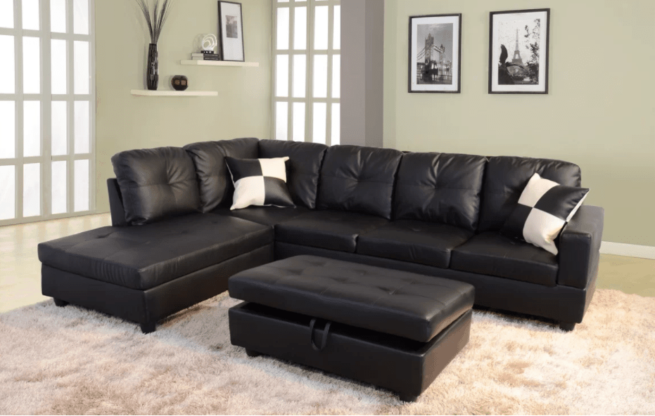 Superbe Black Sectional Sofa For Under $1,000