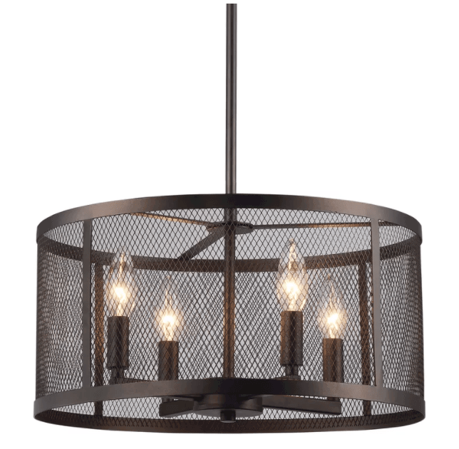 Bouffard Metal Mesh 4-Light Drum Chandelier