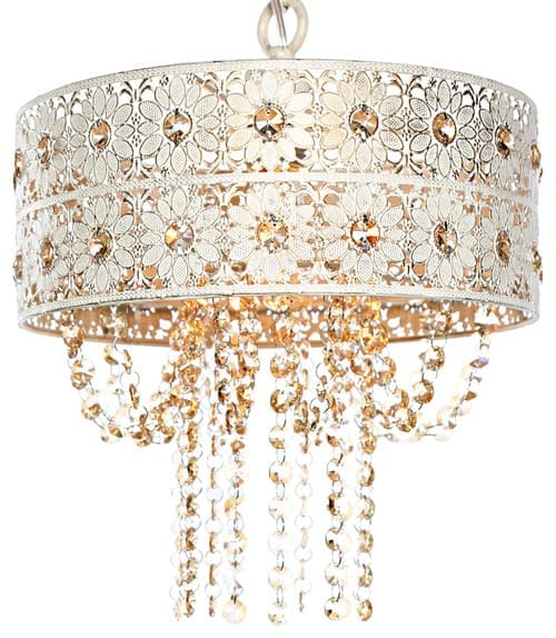 "12.5"" Jeweled Blossoms Hanging Lamp, Champagne"