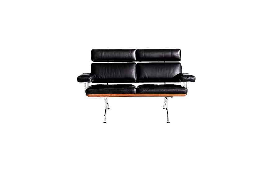 Sofa for home and office use made of black leather and steel frame and legs.