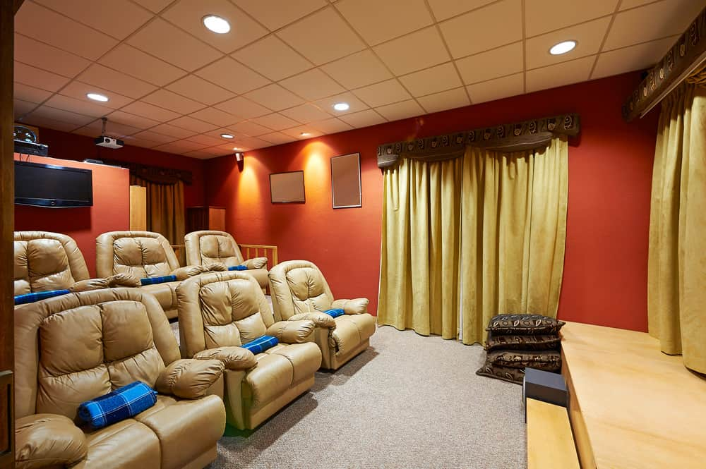 Fabulous home theater with stadium seating.