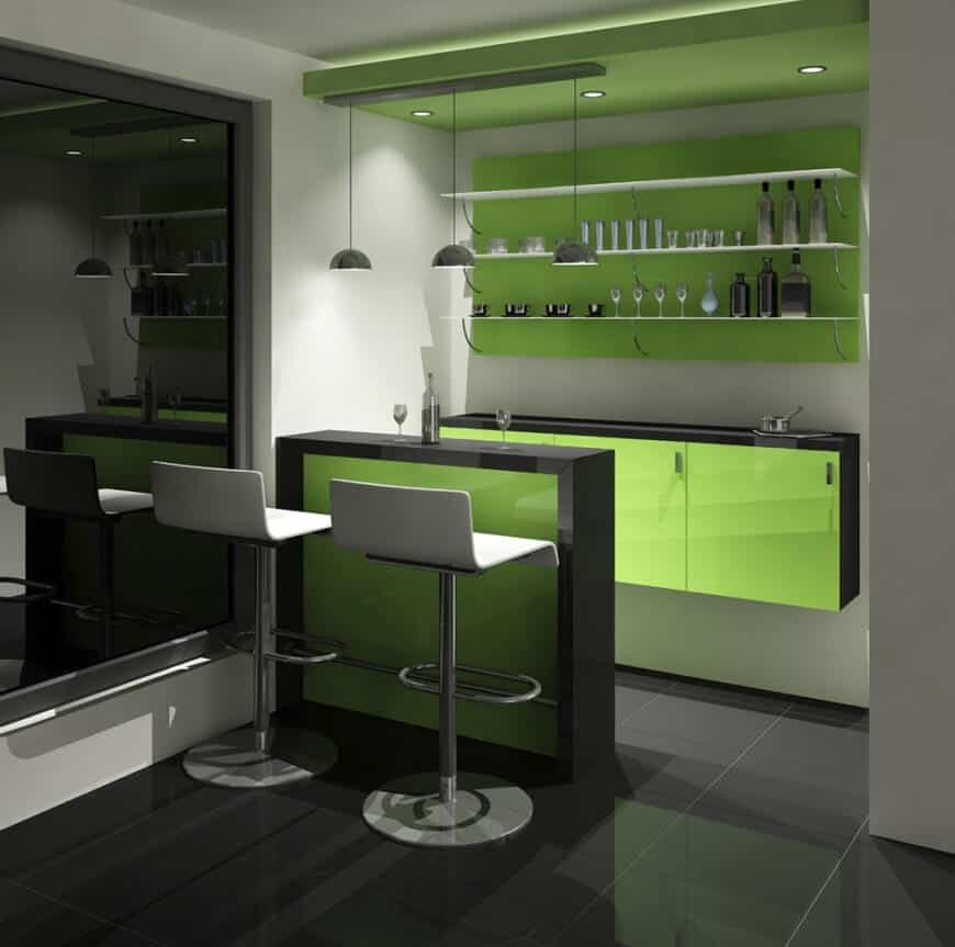 Modern green accent home bar with tiles flooring and white walls along with pendant and recessed lights.
