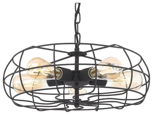 Revel/Kira Home Hudson Industrial 5-Light Cage Fixture, Chandelier