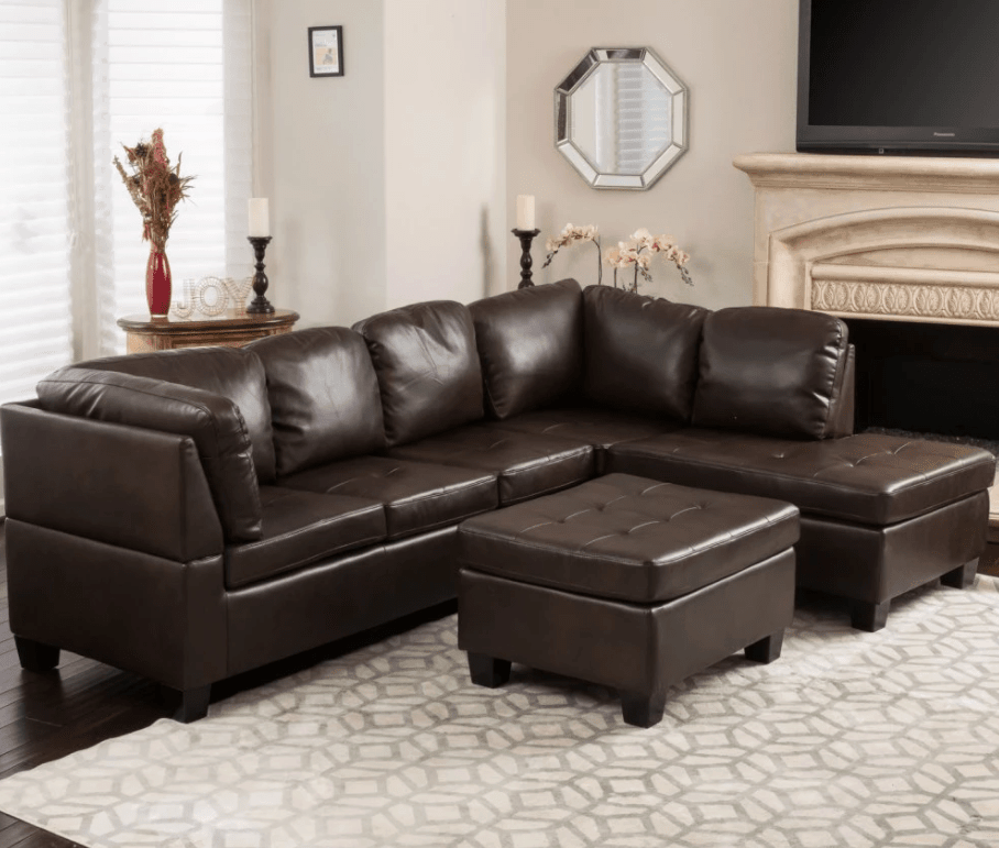 Dark brown leather sectional sofa costing less than $1,000