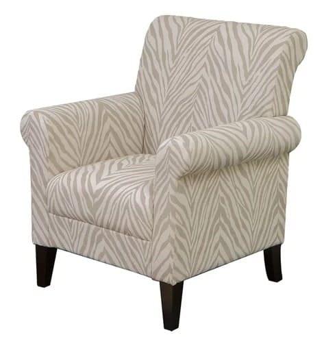 Beige zebra printed armchair.