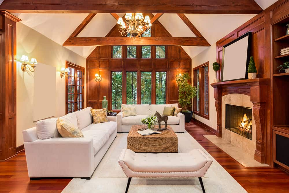 Living room with amazing vaulted ceiling with wood beams