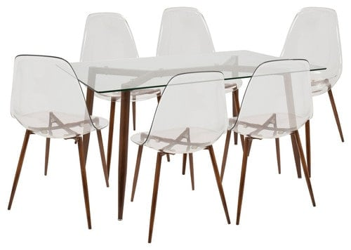 Dining set that features glass table and chairs with metal legs.