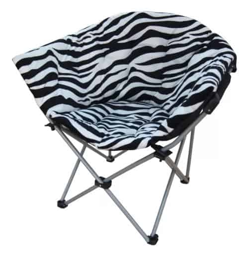 Space-saving multifunctional accent chair with zebra print upholstery and foldable metal legs.