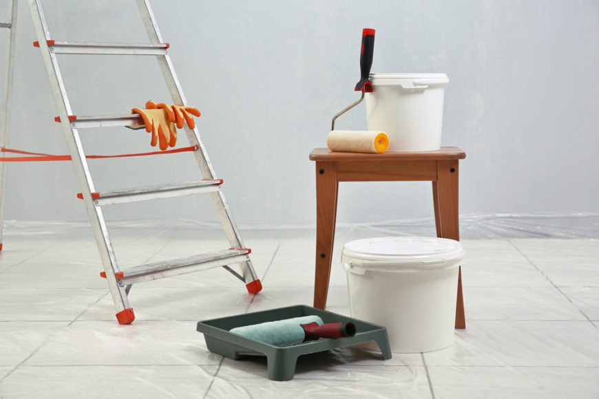 Painting Equipment For Interior Room Painting Job.