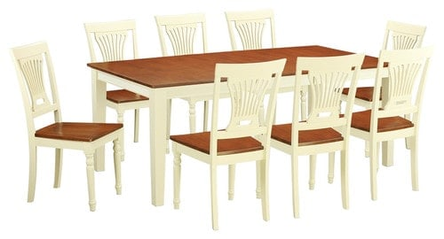 9-piece dining set in buttermilk color and cherry wood tabletop and seating surfaces.