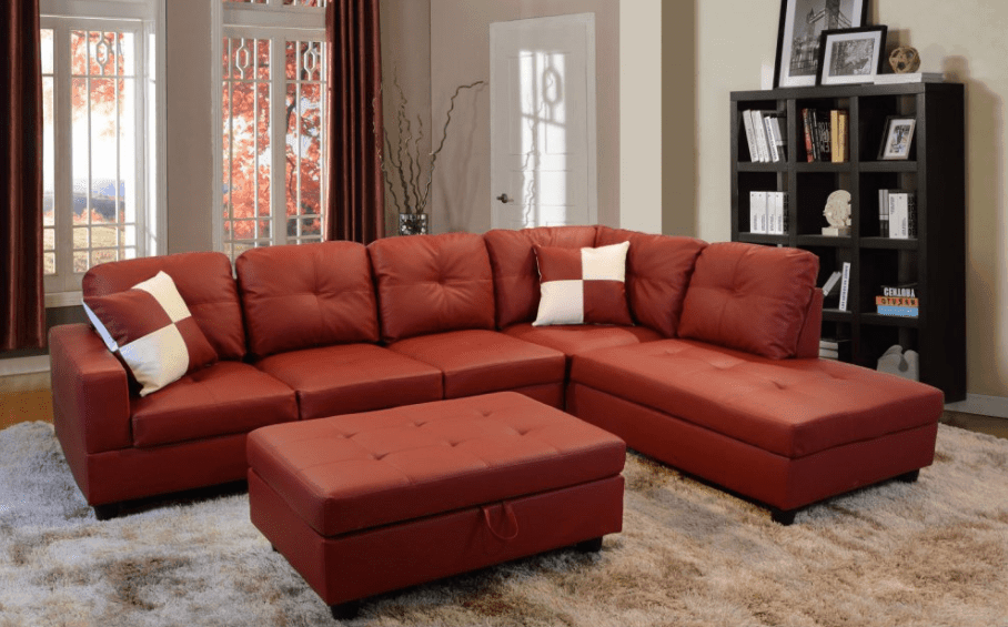 Beautiful red sectional sofa for less than $1,000