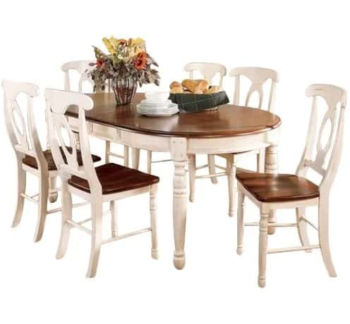 7-piece dining set with buttermilk and merlot finishes.
