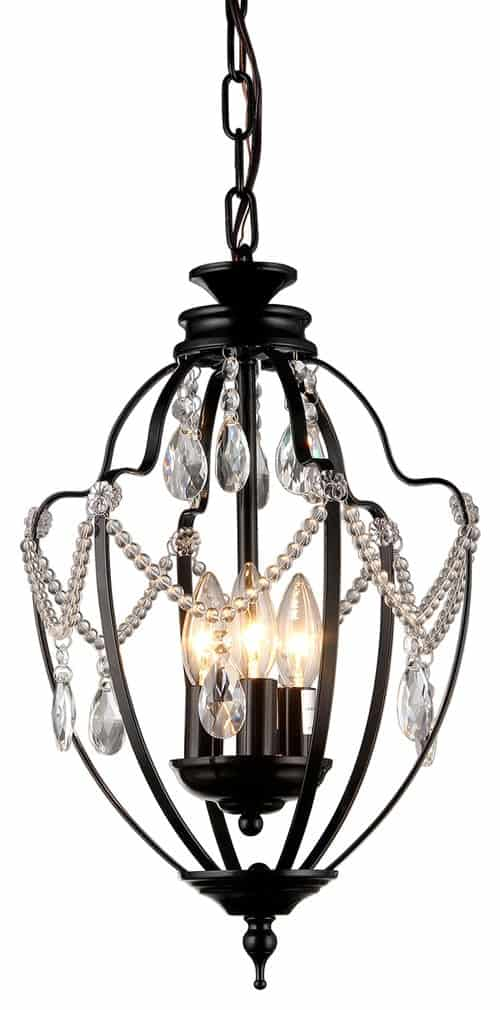 "Warehouse of Tiffany Kennedy 3 Light Black 11"" Crystal Chandelier"