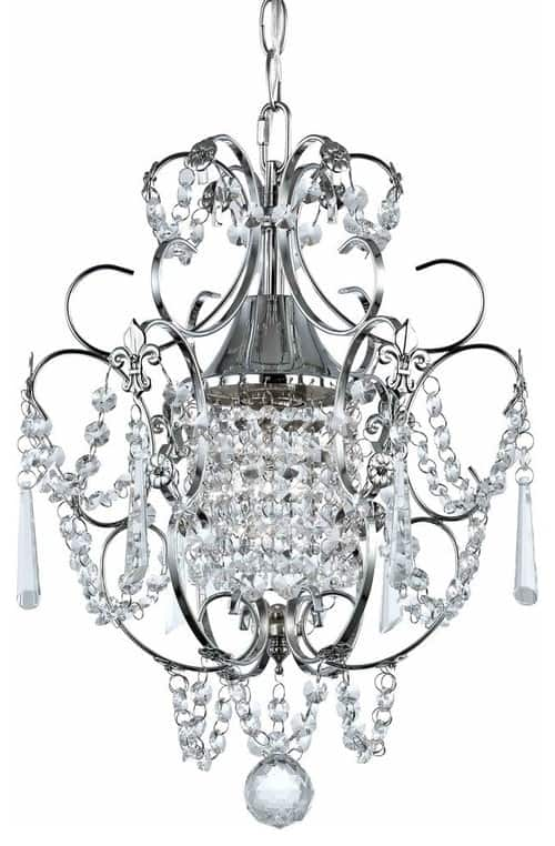 Crystal Mini-Chandelier Pendant Light, Chrome Finish