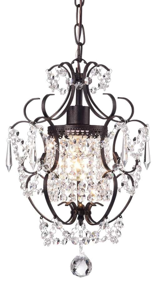 Antoine Mini Crystal Chandelier, Antique Bronze