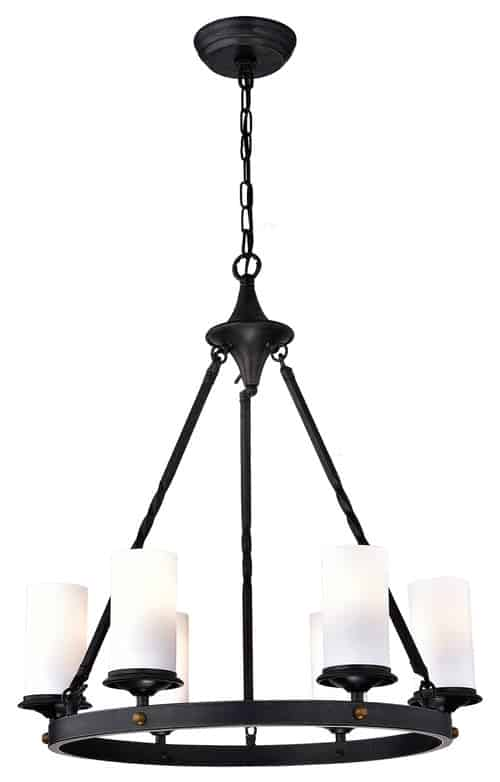 6-Light Chandelier With White Glass, Antique Black