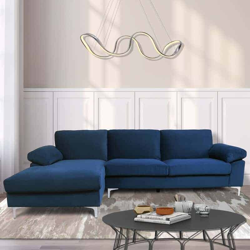 The Ivy Bronx Bueno 103.5'' Velvet Left Hand Facing Modular Sofa & Chaise from Wayfair.