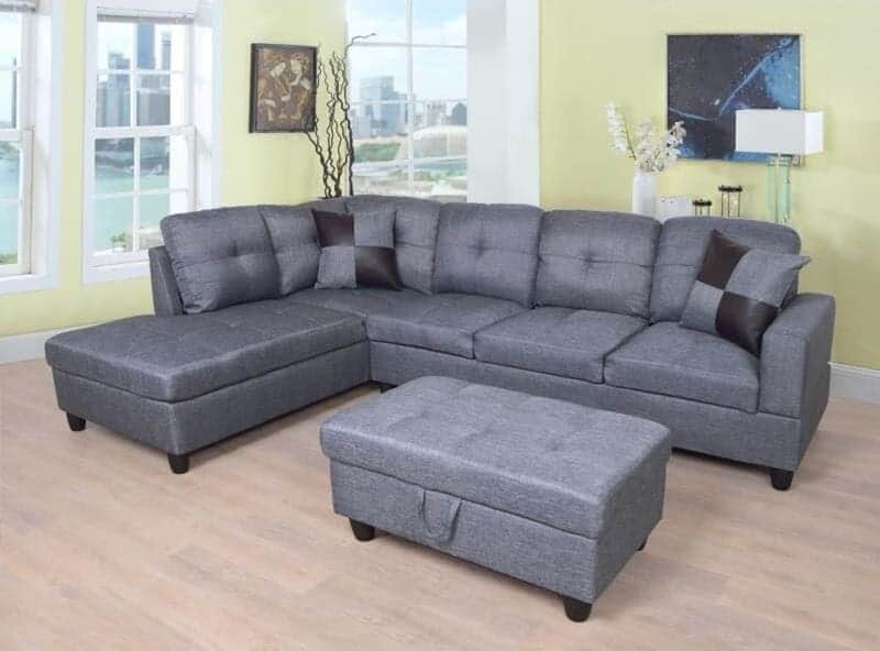 """The Jiu 103.5"""" Wide Linen Right Hand Facing Corner Sectional with Ottoman (Set of 3) from Wayfair."""