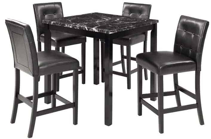 The Five-Piece Dining Room Set by Winston Porter from Wayfair.