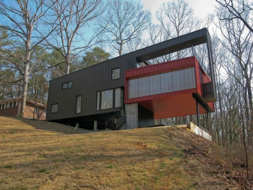 Modern home with steel siding.